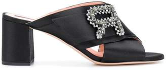 Rochas brooch cross strap heeled sandals