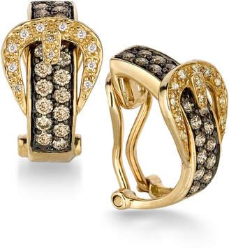 LeVian Le Vian Chocolatier Diamond Belt Buckle Hoop Earrings (1 ct. t.w.) in 14k Gold