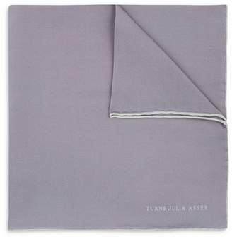 Turnbull & Asser Basic Solid Pocket Square with Border