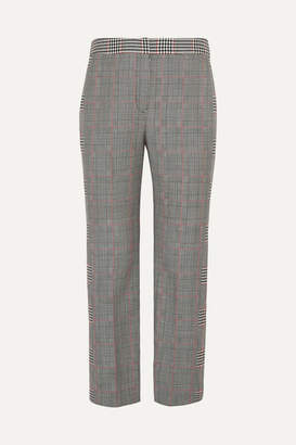 Alexander McQueen Cropped Prince Of Wales Wool-blend Straight-leg Pants - Gray