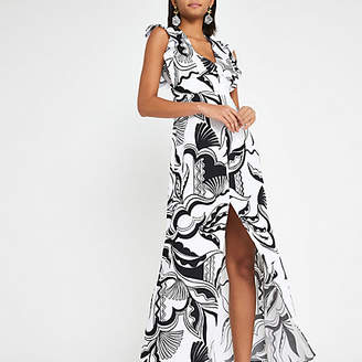 River Island Black print split hem dress