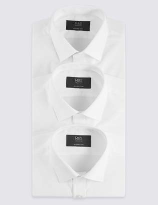 M&S CollectionMarks and Spencer 3 Pack Cotton Blend Modern Slim Fit Shirts