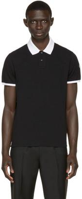 Moncler Black Contrast Collar Polo $155 thestylecure.com