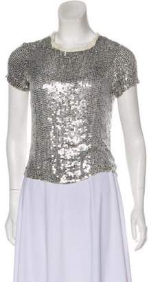 Gryphon Sequin-Accented Short-Sleeve Top