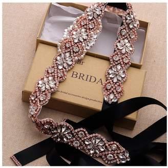 yanstar Wedding Bridal Belt for Wedding Dress Silver Crystal Rhinestone Applique Beaded On White Wedding Belt Sash