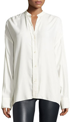 Helmut Lang Long-Sleeve Overlap-Back Top, White $360 thestylecure.com