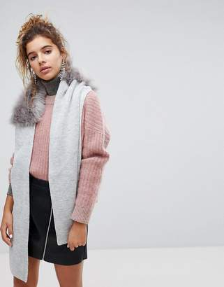 Urban Code Urbancode Wrap Around Knitted Scarf With Faux Faur Collar