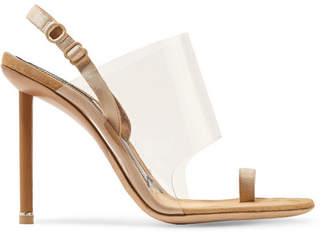Alexander Wang Kaia Grosgrain-trimmed Suede And Pvc Slingback Sandals - Beige