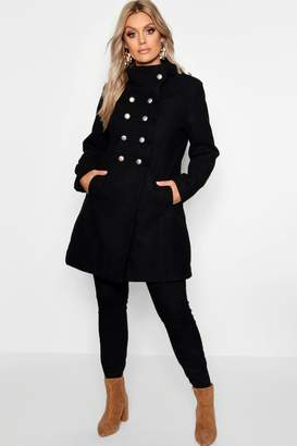 boohoo Plus Military Wool Look Coat