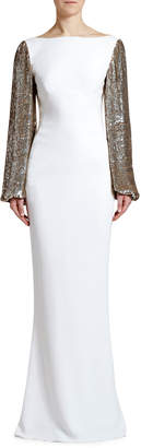 Stella McCartney Boat-Neck Golden Sequined-Sleeve Gown