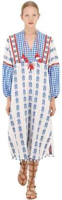 Cotton Jacquard & Lace Dress W/ Tassels