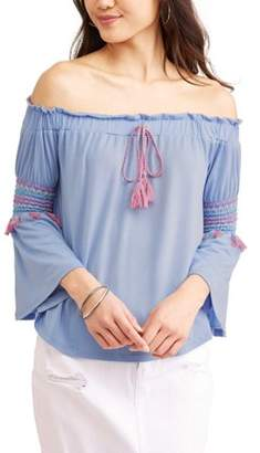 Derek Heart Juniors' Chevron Stitched Off the Shoulder Bell Sleeve Peasant Blouse