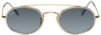 Ray-Ban Gold and Blue Oval Double Bridge Sunglasses