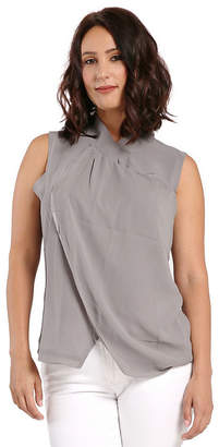 MISS HALLADAY Womens Grey Twisted Collar Neckline Sleeveless Sheer Woven Blouses