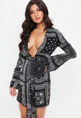 Missguided Black Satin Paisley Print Tie Front Shift Dress