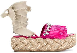 fringed embellished sandals