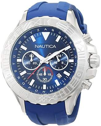 Nautica Men's 'NST 1000 Flags' Quartz Stainless Steel and Silicone Casual Watch