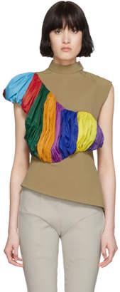 Kiko Kostadinov Tan and Multicolor Gathered Insert Bodice Tank Top