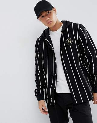 HUF referee striped hooded coach jacket in black