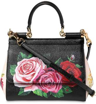 Dolce & Gabbana Small Sicily Floral Printed Leather Bag