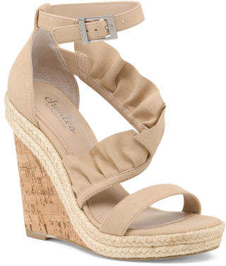 Ankle Strap Cork Bottom Wedge Sandals
