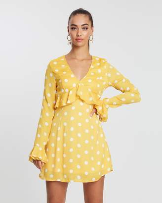 Missguided Polka Dot Plunge Frill Tea Dress