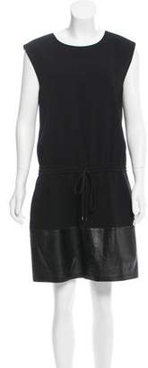 Vince Leather-Paneled Crepe Dress