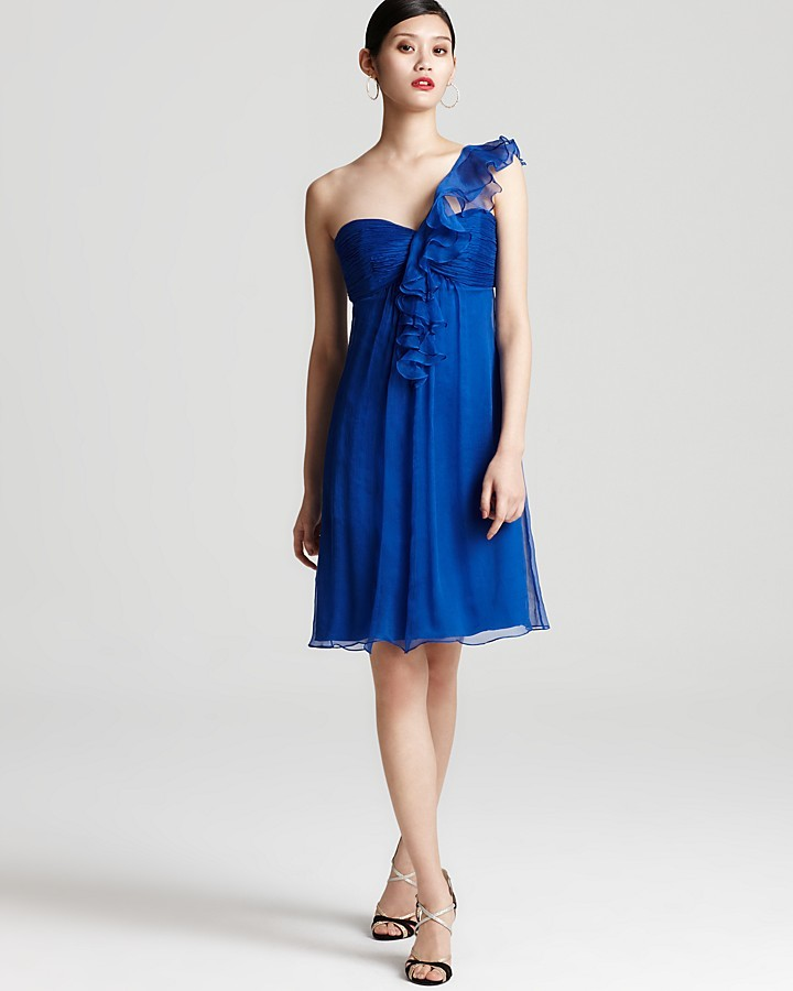 Amsale Dress - One Shoulder Ruffle