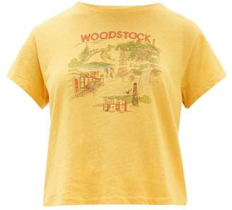Solid & Striped X Re/done Woodstock Print Cotton T Shirt - Womens - Yellow