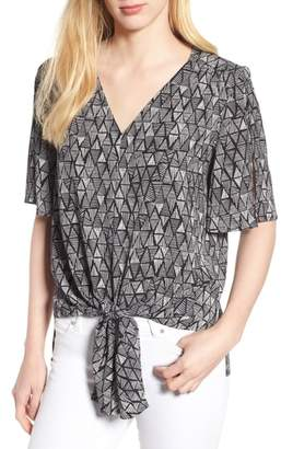 Chaus Vivid Triangle Tie Front Blouse