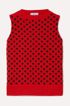 Prada Polka-dot Wool And Cashmere-blend Tank - Red