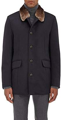 Gimos Men's Fur-Collar Shearling-Lined Cashmere Coat - Navy