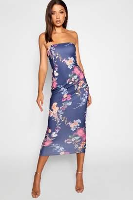 boohoo Tall Floral Print Bandeau Mini Dress
