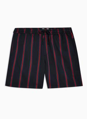 Topman Navy and Red Striped Shorts