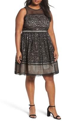 Eliza J Sleeveless Lace Trim Fit & Flare Dress (Plus Size)