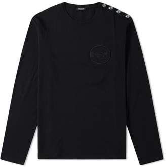 Balmain Long Sleeve Embroidered Coin Button Tee
