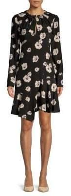 Derek Lam 10 Crosby Floral Asymmetric Silk Shift Dress