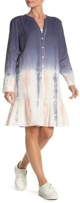 DKNY Tie Dye Long Sleeve Linen Dress