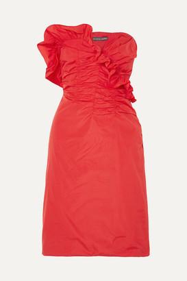 ALEXACHUNG Ruffled Ruched Taffeta Dress - Red