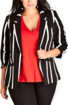 City Chic Suit Up Stripe Jacket