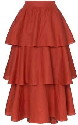 Johanna Ortiz exotic destination tiered linen skirt