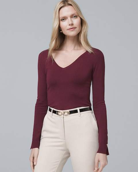 Whbm Merino Wool V-Neck Sweater