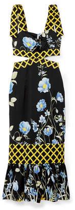 Alice McCall Flower Girl Cutout Floral-print Crepe De Chine Midi Dress - Black