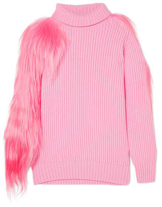 Hillier Bartley - Shearling-trimmed Ribbed Cashmere Turtleneck Sweater - Pink