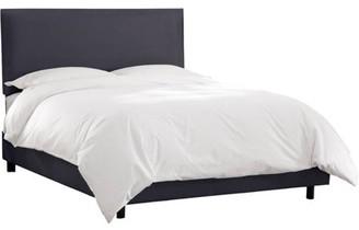 Skyline Furniture Nailhead Border Low Profile Upholstered Bed, Navy