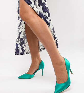 Asos Design DESIGN Wide Fit Purley high heeled court shoes in emerald green