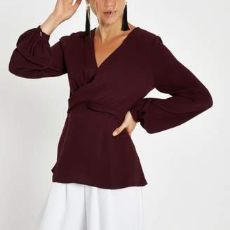 River Island Dark red cross front tie back blouse