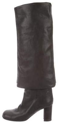 8af1b45cffb Gray Leather Over The Knee Boots - ShopStyle