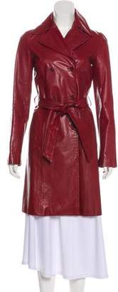 Theory Leather Knee-Length Coat
