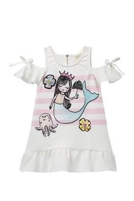 Hannah Banana Dropped Waist Cold Shoulder Mermaid Dress (Toddler & Little Girls)